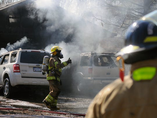 Firefighters respond to a garage fire Sunday, Mar. 5, on Berry Road in Burtchville Township.