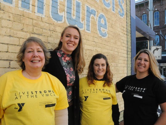 From left, Gayle Dundon, Madeline Turner, Careylynn Patterson, and Nekole Baurer are touting the LIVESTRONG program at the local YMCAs.