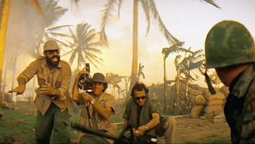 Francis Coppola, left, and Vittorio Storaro, center, perform their famous cameo as a television news crew in Apocalypse Now. Storaro is being honored by the George Eastman Museum in a three-day celebration beginning March 24.