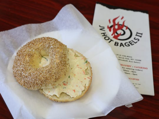 The sesame bagel with vegetable cream cheese at JV Hot Bagels II in Shrub Oak, pictured at the store March 6, 2018.