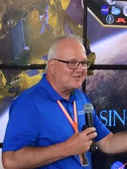 Greg McCauley, executive director and CEO of the Link Observatory Space Science Institute, gives a lecture at the Indiana State Fair.