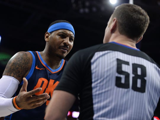 Oklahoma City Thunder forward Carmelo Anthony (7) speaks
