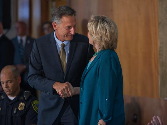 Vermont Gov. Peter Shumlin appeared with presidential candidate Hillary Clinton, Thursday, in Laconia, NH, for a roundtable discussion on substance abuse. KEVIN HURLEY/for the FREE PRESS