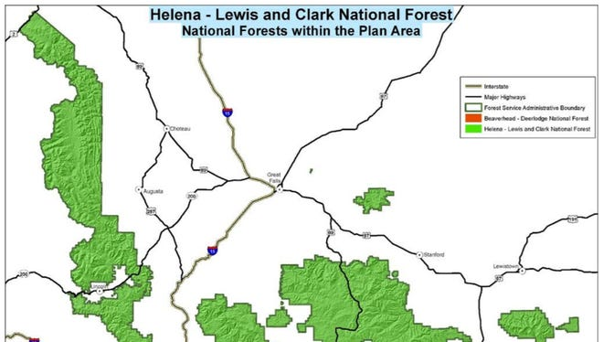 Helena-Lewis and Clark National Forest is indicated in green.