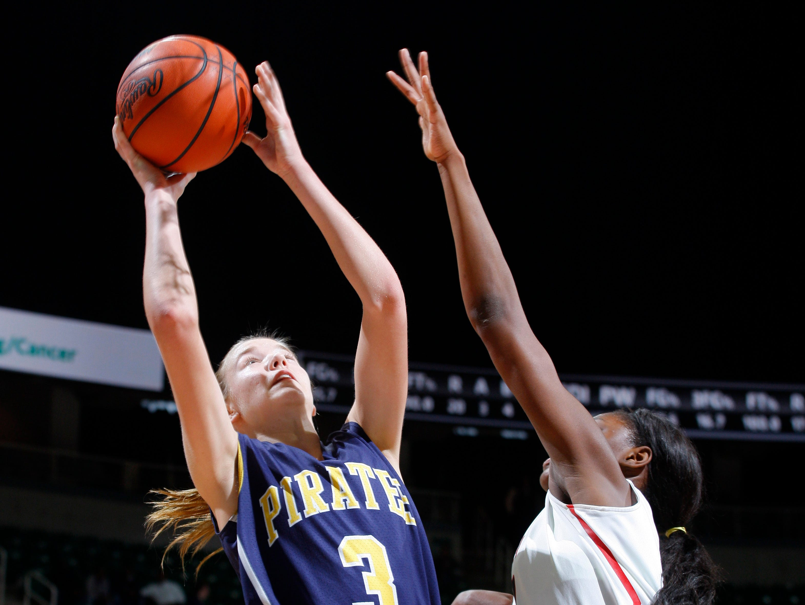 Pewamo-Westphalia's Hannah Spitzley, left, shoots against Detroit Edison's Ariel Jenkins during their MHSAA Class C championship game, Saturday, March 18, 2017, in East Lansing, Mich. P-W fell 46-44.