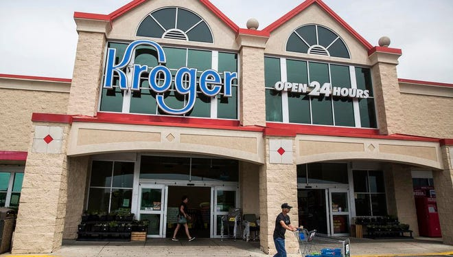 Customers shop Kroger in New Castle Tuesday afternoon.