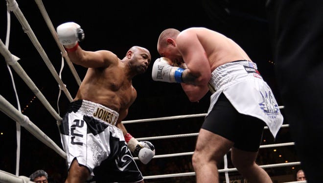 Pensacola's Roy Jones Jr. fights against Scott Sigmon during Island Fights 46 on Thursday at the Pensacola Bay Center.