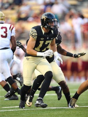 The Wake Forest Demon Deacons opened their 2015 NCAA football season by hosting the Elon Phoenix at BB&T Field on September 3, 2015 in Winston-Salem, North Carolina.  The Demon Deacons defeated the Elon Phoenix 41-3.   (Brian Westerholt/Sports On Film)
