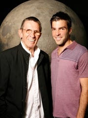 Leonard Nimoy and Zachary Quinto photographed at the
