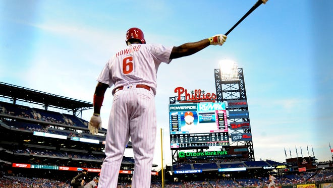 Philadelphia Phillies first baseman Ryan Howard waits in the on deck circle Tuesday against the Washington Nationals at Citizens Bank Park. Manager Pete Mackanin announced Wednesday that Howard will be benched the next 3-4 games so Tommy Joseph gets a chance to play.
