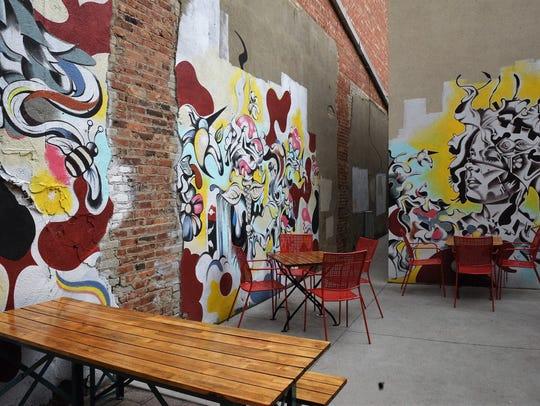 M.B. Haskett's back patio walls were transformed into