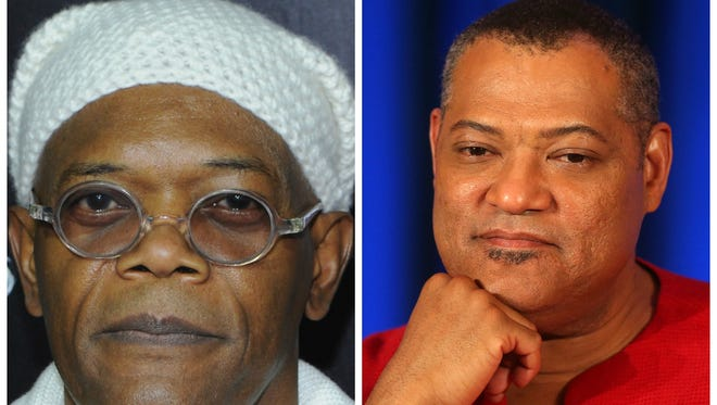 Samuel L. Jackson (L) went off on an unsuspecting news anchor after he confused the actor with Laurence Fishburne (R) on Feb. 10, 2014.