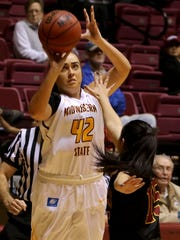 Midwestern State's Whitney Taylor attempts a three-point