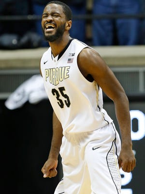 Rapheal Davis lets out a scream as the final seconds tick off the clock against Minnesota. Davis was pivotal for the Boilermakers, as they came from behind in the second half to defeat Minnesota 72-68.