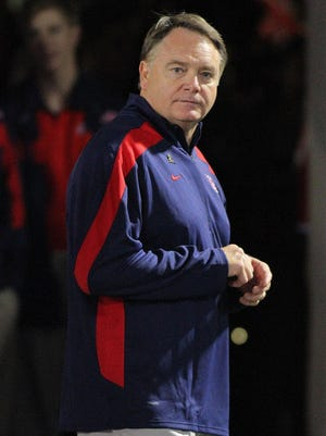 Former Ole Miss head coach Houston Nutt looks on during a 2011 game.