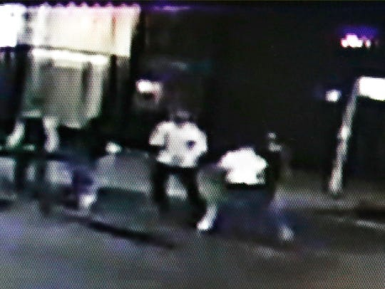 This frame from video provided by A&P Liquors, shows