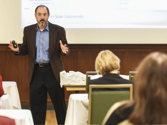 Colorado State University Provost and Executive Vice President Rick Miranda summarizes the projected fiscal 2016 budget in this file photo taken in Fort Collins.