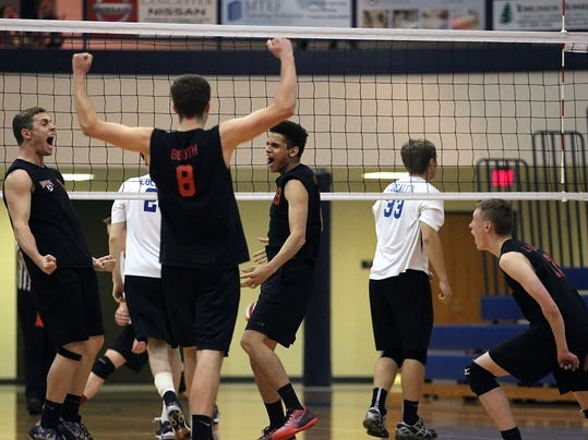 Hempfield players react after beating Cocalico 3-0 in the LL Boys Volleyball Finals at Manheim Twp. High School Wednesday May 13, 2015. Chris Knight - GametimePa.com