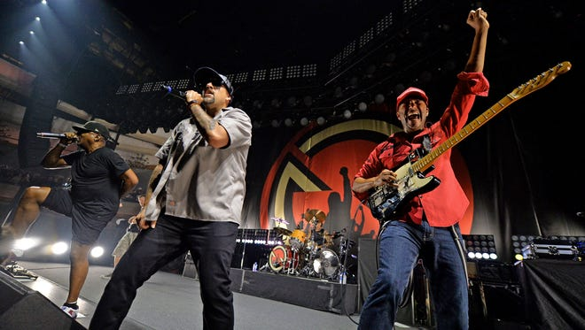 Chuck D (from left), B-Real and Tom Morello of Prophets of Rage perform at Hollywood Palladium on June 3 in Los Angeles
