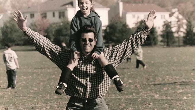 Francesca Picerno riding the shoulders of her dad Matthew Picerno in an undated photo.
