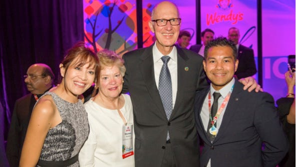 From left, Sumiko D. Espaldon, Vice President, Quick Service Foods, Inc., Maureen Brolick, Emil J. Brolick, President and CEO, The Wendy's Company, Ernesto (Jun) V. Espaldon, Jr. President, Quick Service Foods, Inc.