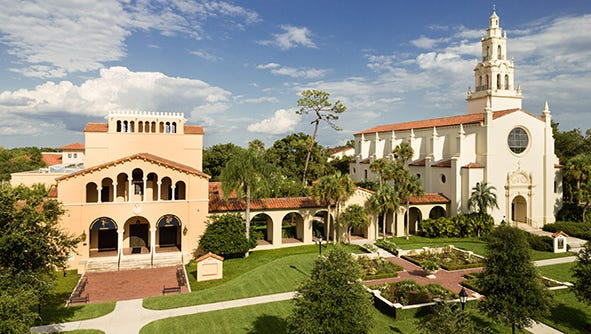 The Annie Russell Theater and Knowles Memorial Chapel are on the campus of Rollins College in Winter Park. The college was founded in 1885. .
