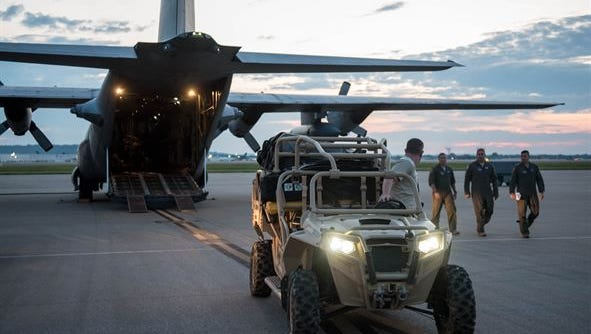Airmen from the Kentucky Air National Guard's 123rd Special Tactics Squadron prepare to deploy from the Kentucky Air National Guard Base in Louisville, Ky., Aug. 27, 2017, for Texas, where they will assist with rescue and recovery efforts in the wake of Hurricane Harvey.