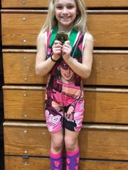 Kylee Trostle won the girls 8U 55-pound girls division title at the Pennsylvania Junior Wrestling state qualifier on Sunday.