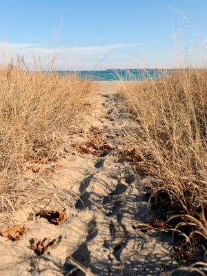 The sun shines down a trail to a beach in Port Huron.