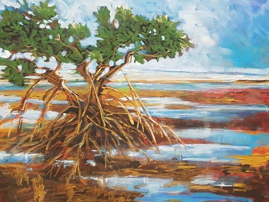 """Karen Swanker's acrylic artwork """"Mangrove Sunset."""""""