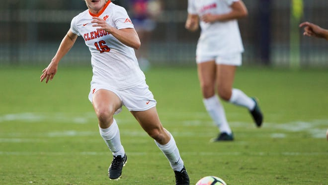 Clemson midfielder Julie Mackin runs toward the ball during a game against Syracuse on Sept. 22 in Clemson. Mackin is expected to be one of Clemson's top players in 2017.