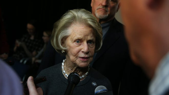 Detroit Lions owner Martha Firestone Ford talks with reporters about GM Bob Quinn on Monday, January 11, 2016 at the Allen Park practice facility.