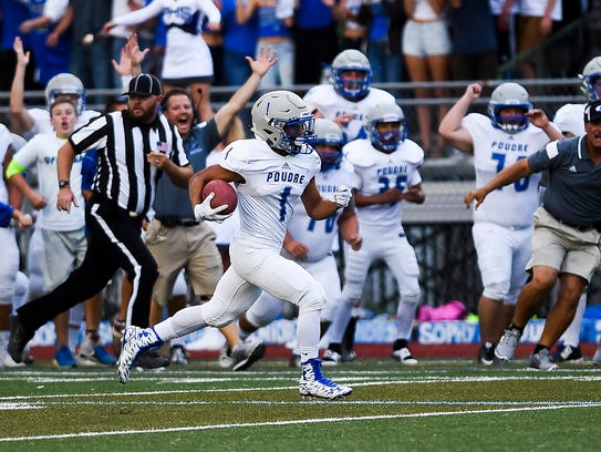 Poudre's Earl Ong returns the opening kickoff for a