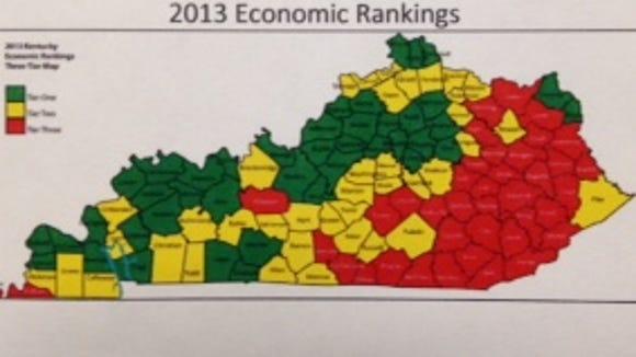 Economic rankings in Kentucky. Courtesy Hayslett Group LLC and Kentucky Public Health Association.
