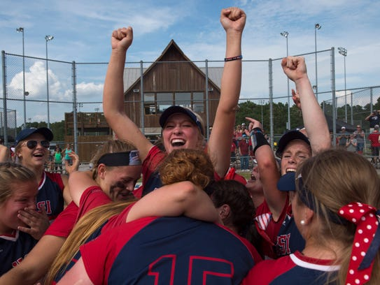 The Southern Indiana Screaming Eagles softball team celebrates their win against Wayne State University after last year's NCAA Division II Midwest Super Regional.