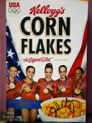 A cereal box sits at the entrance of The Gymnastics