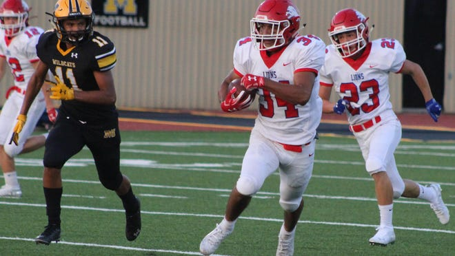 Durant High School junior running back Francisco Avila breaks up field for one of his three 70 yard-plus touchdown runs against Madill. Avila is the Lions' leading rusher and offensive catalyst heading into this week's district opener against Shawnee.