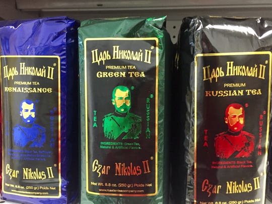 Russian teas are among the packaged goods sold at the