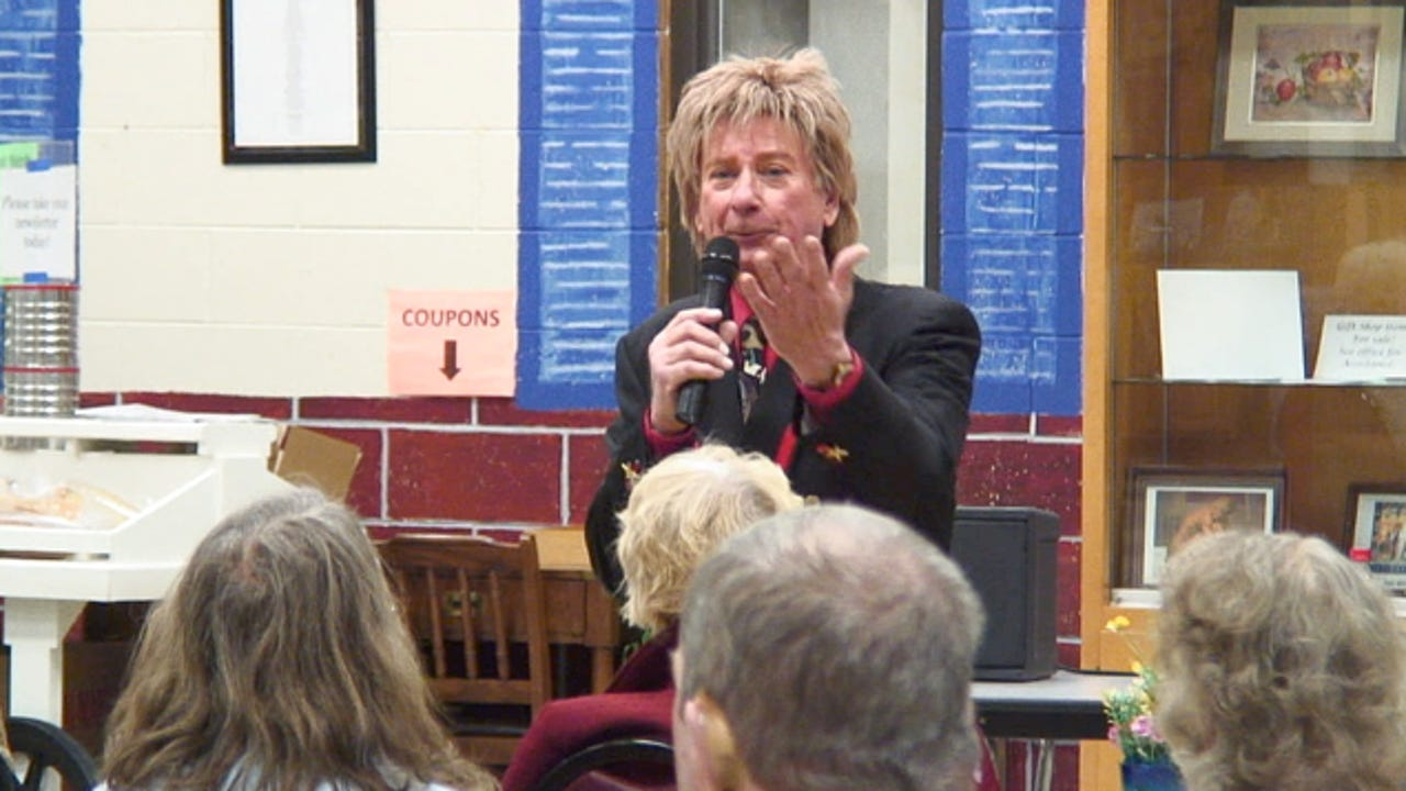 Barry Manilow tribute artist Frank Sternett sings a variety of songs, both Manilow's hits, and other standards, at the Hartland Senior Center.