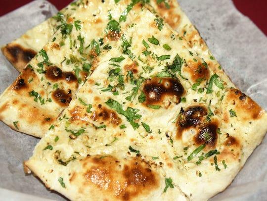 The garlic naan at Spice Rack.