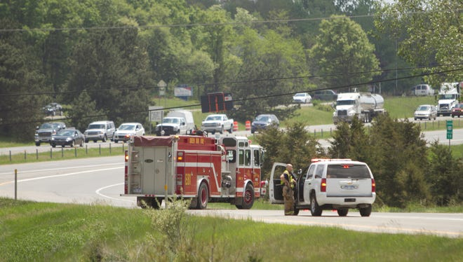 A low-hanging power line which is strung across U.S. 23 caused the southbound side of U.S.23 to be blocked off until DTE could arrive to raise the wire.