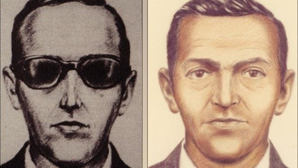 A sketch of the description of D.B. Cooper, who is suspected of skyjacking a Northwest Airlines Boeing 727 on Nov. 24, 1971.