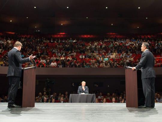 Democrat Jack Conway, left, faced Republican Matt Bevin