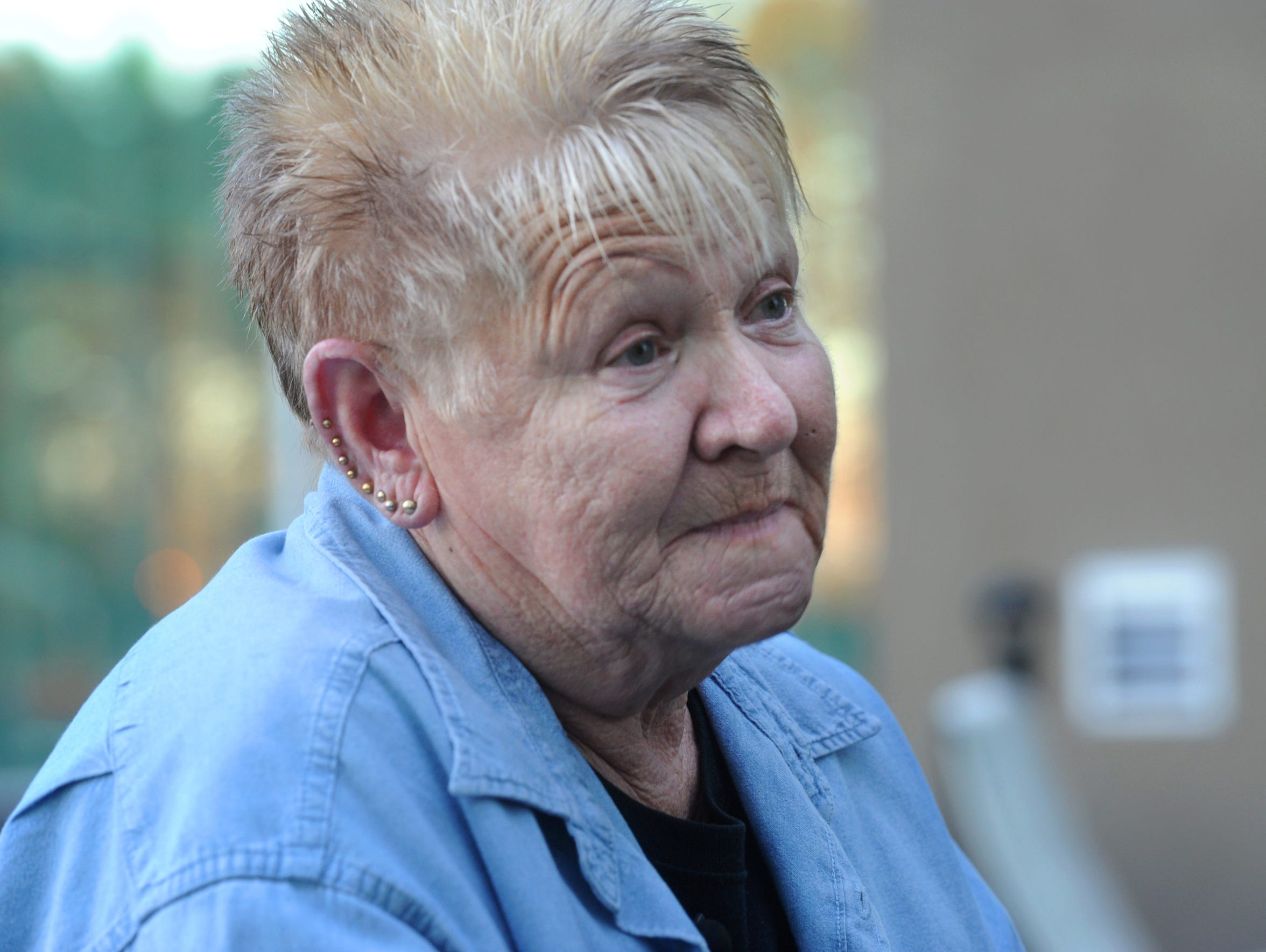 Peggy Murray, 67, of Stockton, speaks with a reporter