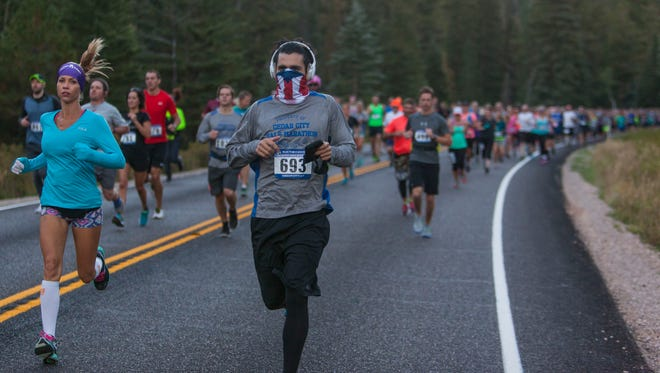 Runners compete in the Cedar City Half Marathon, Saturday, Sept. 10, 2016.