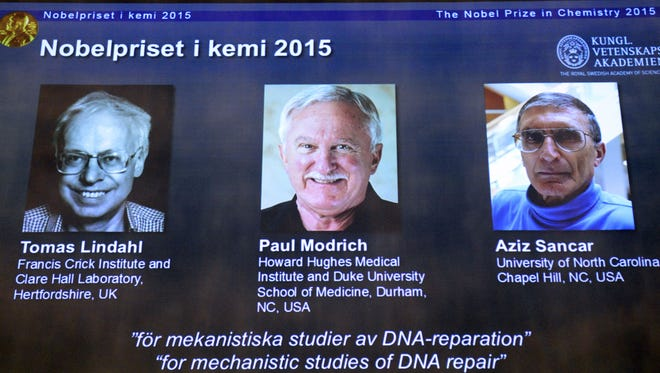 The portraits of the winners of the Nobel Prize in Chemistry 2015 (L-R) Sweden's Tomas Lindahl, Paul Modrich of US and Turkish-American Aziz Sancar are displayed on a screen during a press conference on October 7, 2015 at the Royal Swedish Academy of Sciences in Stockholm.