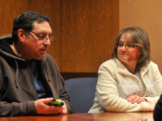 Tom and Amy Ciaccio talk in the Daily Herald Media offices in Wausau on Feb. 12, 2014. Tom gave a kidney to Amy in 2011.