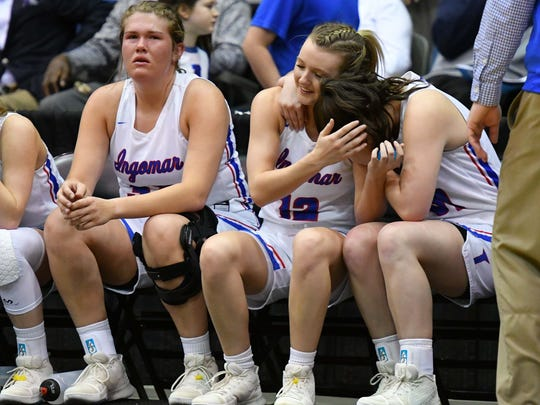 Ingomar players celebrate their win over New Site during the MHSAA Girls 2A Championship Game held at The Coliseum in Jackson MS.(Photo/Bob Smith)