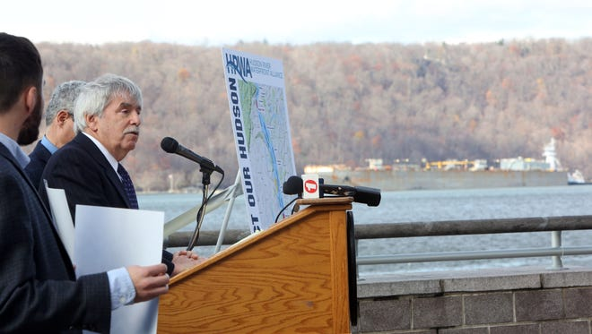 Attorney Mark Chertok of Sive, Paget & Riesel speaks at a press conference regarding the Hudson River Waterfront Alliance's findings related to the proposed Hudson River anchorages, Dec. 1, 2016 at the Yonkers waterfront. The group, which includes several waterfront communities in Westchester, lead by Yonkers Mayor Mike Spano, hired maritime experts and legal counsel to explore the proposal.