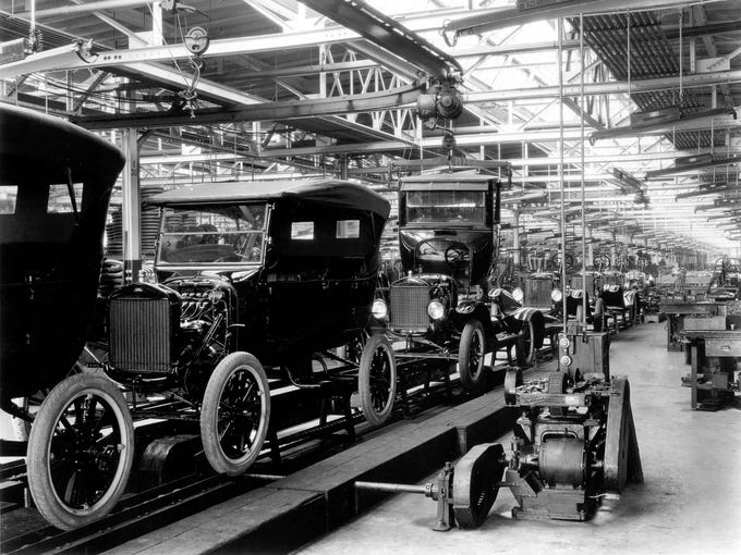 This undated image shows a 1924 Model T assembly line.